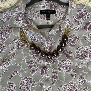 Purple Print Banana Blouse